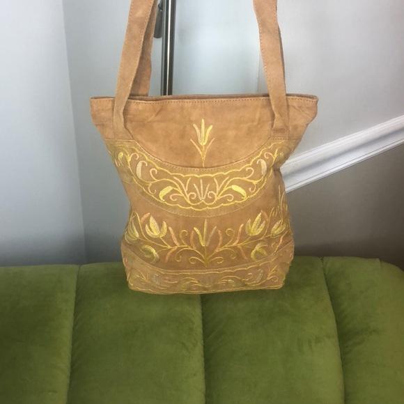 Vintage Handbags - *vintage* leather suede bag with boho detailing